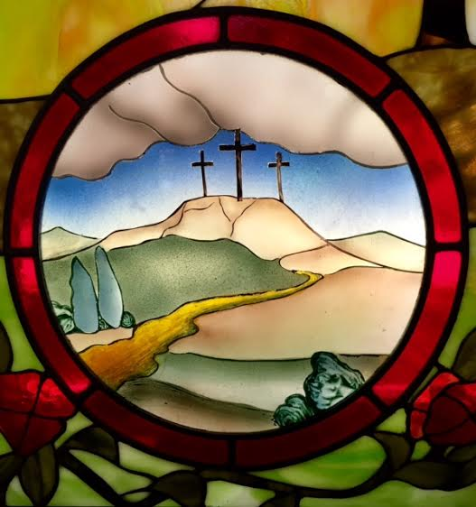 3 Crosses Stained Glass Panel